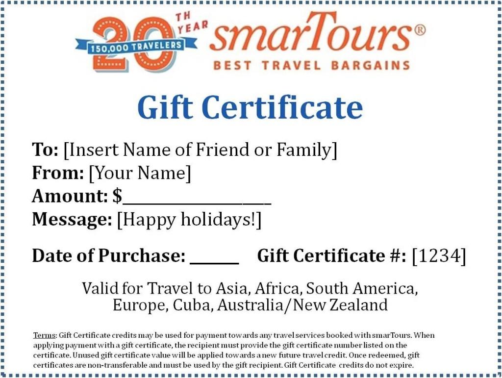 Gift Certificates Smartours
