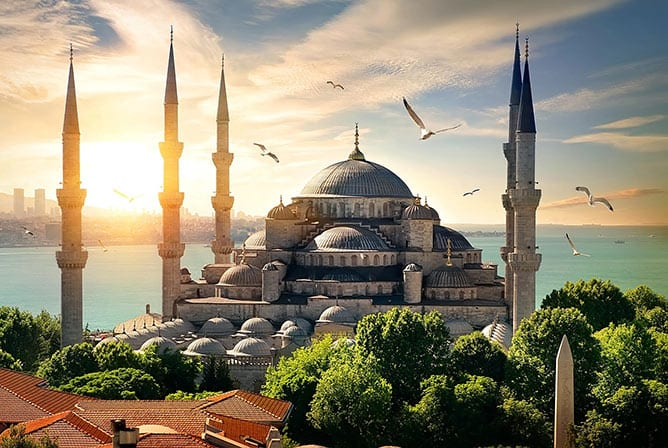 Day-2—Seagulls-over-Blue-Mosque—iStock-857430528