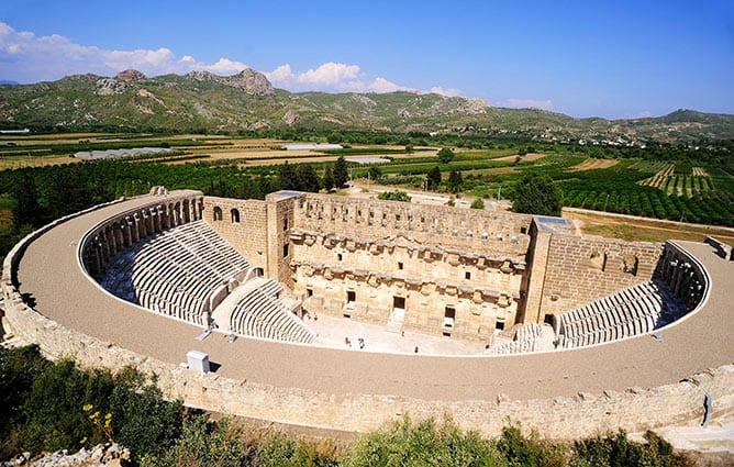 Day-8—Ancient-roman-theater-in-aspendos,-Antalya,Turkey—iStock-579143010