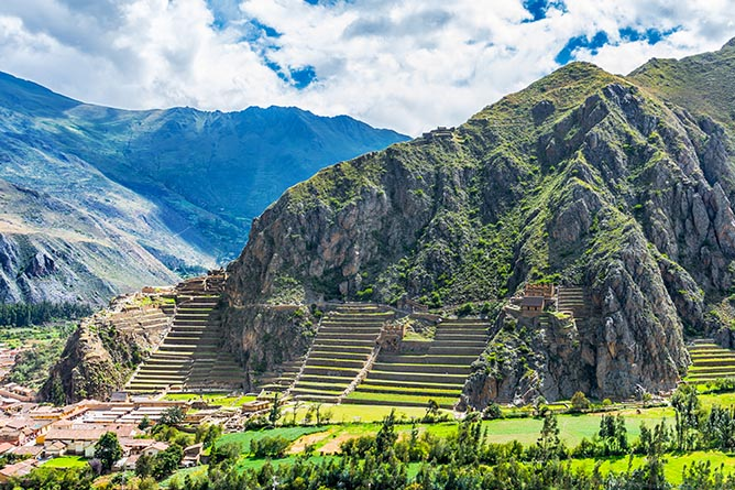Inca Fortress with Terraces and Temple Hill in Ollantaytambo, Peru.